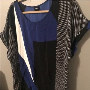 Blue white and black blouse